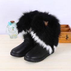 USD19.49Winter Round Toe Flat Low Heel Ankle Feathers Black Snow Boots
