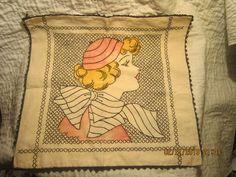 Flapper Girl Vogart Embroidered Pillow Sham or Cover | eBay
