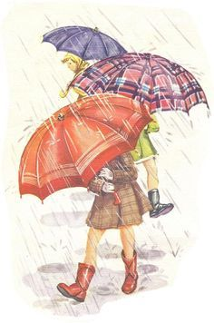 Vintage Illustration Girls with Tartan Umbrellas. Images Vintage, Vintage Pictures, Vintage Cards, Vintage Clip, Copics, Rainy Days, Belle Photo, Vintage Prints, Free Printables