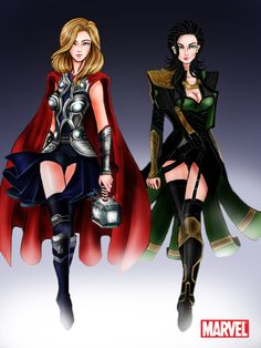 Avengers: Thor and Loki Godesses by i may have just found my inspiration for halloween ladies and gents.now to be thor or loki? Loki it's gonna be Loki! The Avengers, Avengers Fan Art, Marvel Art, Loki Costume, Cosplay Costumes, Cosplay Ideas, Female Thor Costume, Easy Cosplay, Costume Ideas