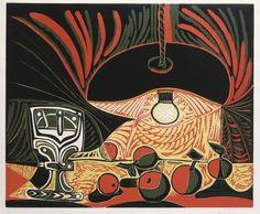 Picasso - Still Life Under A Lamp - Linoleum Print