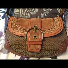 "Reduced, Coach Hobo Unique style Look at the gorgeous details leather and suede combo.  Has big pocket on side, zipper pocket along with other smaller pockets inside. Leather bottom no scratches. Great condition measurements: 15"" across from widest point, 7"" in height from top to bottom and 3"" wide measured from the bottom of bag. Coach Bags Hobos"