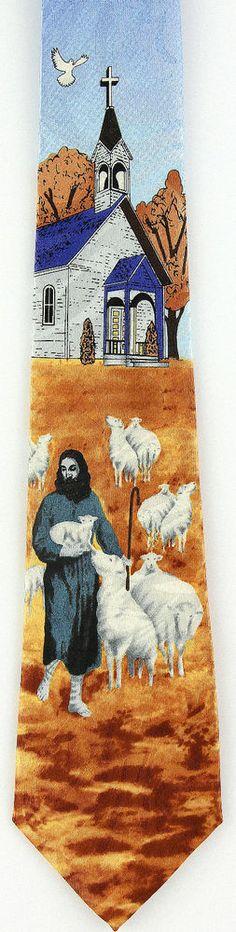 New Tending Flock Mens Necktie Jesus Lamb Shepherd Christian Religious Neck Tie #Fratello #NeckTie
