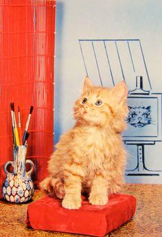 Joli chaton dans un décor. Animals, Vintage, Wild Animals, Pretty, Dog, Cards, Animaux, Animal, Vintage Comics