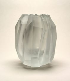 Glacier Vase, 2004 designed by Sebastian Menschhorn / Mouth-blown crystal, heavy-cut and semi-polished, oil finish.