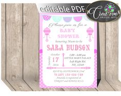 Baby Shower Girl Pink INVITATION editable Pdf with pink baby rattle theme, editable pink party invitation, instant download - bsr01 #babyshowerparty #babyshowerinvites