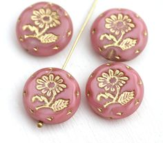 18mm Pink Flower beads, Golden Inlays, Czech glass Round tablet floral ornament beads, mixed color - 2pc - 1921 by MayaHoney on Etsy