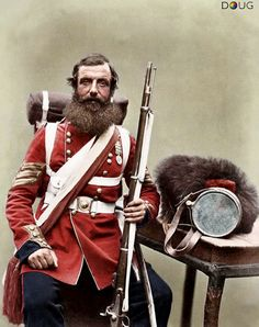 Sergeant William Knapp, 1st.Battalion, Coldstream Guards (regimental Nº.2145) in Aldershot, Hampshire – July 1856. He is wearing the Crimea Medal with four bars for Alma, Balaklava, Inkermann and Sebastopol – photograph by Robert Howlett and Joseph Cundall.