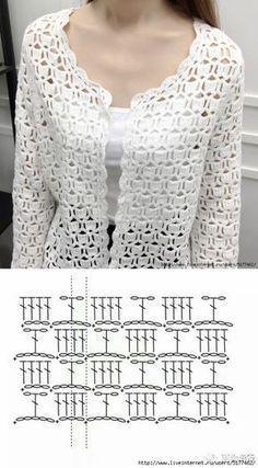 Fabulous Crochet a Little Black Crochet Dress Ideas. Georgeous Crochet a Little Black Crochet Dress Ideas. Gilet Crochet, Crochet Cardigan Pattern, Crochet Jacket, Freeform Crochet, Crochet Blouse, Irish Crochet, Crochet Shawl, Crochet Diagram, Crochet Stitches