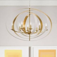 8-light Matte White/Antique Gold Chandelier