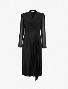 Say hello to a dreamy new dress from our collection of the season's best designer dresses from Maje, Sandro, Ted Baker and more. Best Designer Dresses, Designer Evening Dresses, Revere Collar, Blazer Fashion, Crepe Dress, Sandro, Pleated Skirt, New Dress, Party Dress