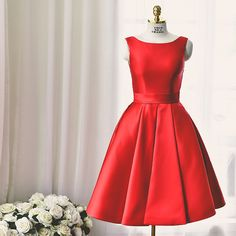 Lovely Short Red Party Dress,A line Backless Prom Dress,Satin Wedding Party Dress,Bridesmaid Dress