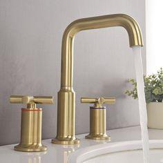 YZZY Widespread Bathroom Faucet with Seal Technology , Gold Bathroom Faucet, Brass Bathroom Fixtures, Gold Faucet, Widespread Bathroom Faucet, Shower Faucet, Bathroom Inspo, Bathroom Ideas, Pool Bathroom, Basement Bathroom