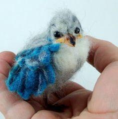 Needle Felted Art by Robin Joy Andreae: Little Azure, a Baby Blue Jay