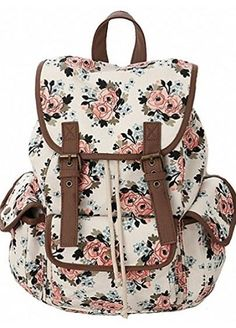 1a5945e8105b Kenox Casual Canvas Travel School College Backpack bookbags daypack for Teenage  Girls students women Casual Style Canvas Travel School College Shoulder ...