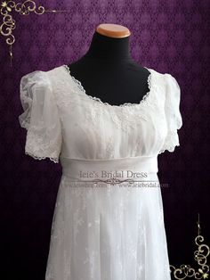 Vintage inspired regency 1920 style lace wedding dress with empire waist. Photoed in ivory. This dress can also be made in white or another color Working Time: 8-10 weeks Rush Order please inquire pri