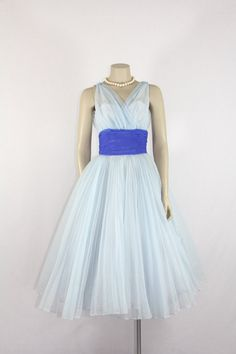 Vintage Party Prom Wedding Dress Fred Perlberg - Light Blue Chiffon Illusion Bust Sleeveless V neck Bridal Full Skirt Something Blue Frock by VintageFrocksOfFancy Vintage Party Dresses, Vintage Prom, 1950s Dresses, Prom Dresses, Wedding Dresses, Blue Chiffon Dresses, Chiffon Skirt, Tulle Dress, Pleated Skirt