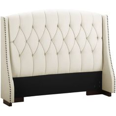 Dorel Living Button Tufted Wingback Headboard with Nailheads