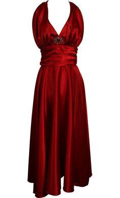 Marilyn Satin Halter Dress Plus Size   Junior Plus Size Prom Dresses