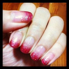 Fuchsia gradient gelish nails for CNY