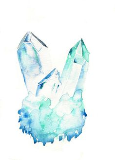 AQUAMARINE * handmade watercolor painting * raw crystal cluster * by Ali Macadoodle (Cool Art Paintings) Crystal Drawing, Crystal Tattoo, Fantasy, Watercolor Paintings, Watercolor Tattoos, Art Paintings, Art Inspo, Painting & Drawing, Amazing Art