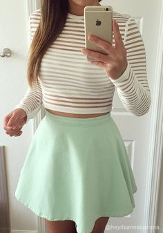 Tops Collection: Adorable sheer striped cropped top has a crew neckline with…