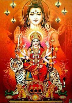Lord Shiva and Shri Mata Vaishno Devi Shiva Parvati Images, Durga Images, Shiva Shakti, Lord Durga, Durga Ji, Lord Vishnu, Navratri Puja, Maa Durga Image, Lord Shiva Hd Images