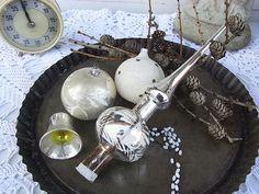 Vintage Weihnachtsdeko - shabby Christbaumschmuck Konvolut Spitze Lametta - ein Designerstück von artdecoundso bei DaWanda