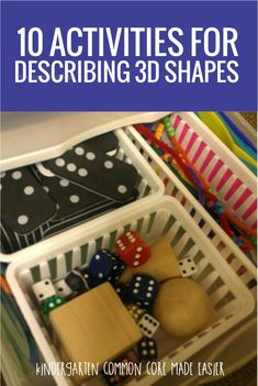 10 Activities for Describing Shapes in Kindergarten - I like these free… Shape Activities Kindergarten, 3d Shapes Activities, Teaching Shapes, Kindergarten Activities, Numeracy Activities, Childcare Activities, Teaching Ideas, Preschool Math, Shapes Worksheets