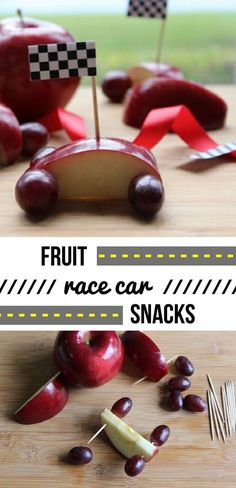 Such a great idea to help kids eat more fruit! Apples and grapes come together to make these awesome fruit race cars. Make it fun and watch them gobble it all up!