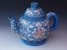 UNUSUAL SIGNED CHINESE FAMILLE ROSE BLUE ENAMEL LOTUS YIXING WARE WINE POT | the Teapots Collectionary