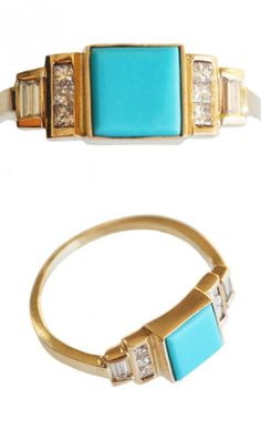 I would give ME this. Square turquoise and diamond ring. So pretty