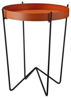 Mod Round Metal Tray Table, Orange   Modern   Side Tables And Accent Tables
