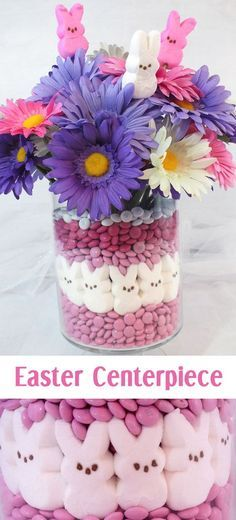This adorable Easter Centerpiece will be everyone's favorite Easter decoration - so fun and so easy to make. All you need are M&M's, Peeps and some flowers to make this cute Easter Craft. Follow us for more fun Easter ideas.