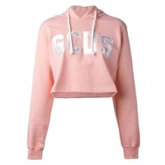 Gcds Logo Patch Cropped Hoodie ❤ liked on Polyvore featuring tops, hoodies, hooded pullover, cotton crop top, cropped hoodies, pink hoodie and cropped hoodie