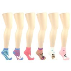 Ladies Teens 6 Pairs Winter Cute Animal Face Fuzzy Warm Plush Thick Ankle Socks SK Hat shop. $16.95