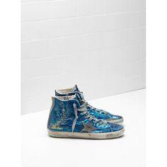 5b1ebc504b8d7 Chaussure Golden Goose Pas Cher Golden Goose Francy GGDB Femme Sneakers  Bleu Soldes