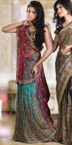 antique look lehenga saree  http://www.bharatplaza.com/antique-look-lehenga-sari.html
