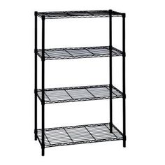 HDX Wire Garage Storage Shelving Unit in Black in. W x 54 in. H x 14 in. - The Home Depot Steel Shelving Unit, Wire Shelving Units, Shelving Design, Shelving Racks, Metal Shelves, Shelving Ideas, Dry Food Storage, Plastic Storage, Unfinished Basement Storage