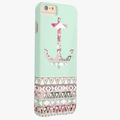 Awesome iPhone 6 Case! Girly Nautical Anchor Pink White Floral Aztec Barely There iPhone 6 Plus Case. It's a completely customizable gift for you or your friends.