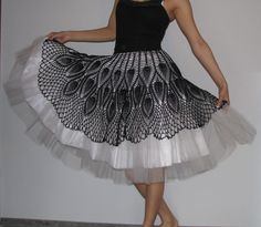 Unique Tutu crochet Skirt Black and white by kovale on Etsy