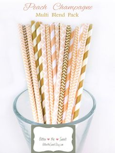 Peach and Gold Party Decor Peach Paper Straws by GlitterMeSweet