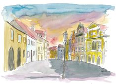 """Saatchi Art is pleased to offer the painting, """"Mala Strana Street Scene Prague,"""" by M Bleichner, available for purchase at $249 USD. Original Painting: Watercolor on Paper. Size is 7.9 H x 11.8 W x 0.4 in. Mykonos, Santorini, Cinque Terre, Watercolor City, Watercolor Paintings, Pisa, Amsterdam, Prague Old Town, Barcelona"""