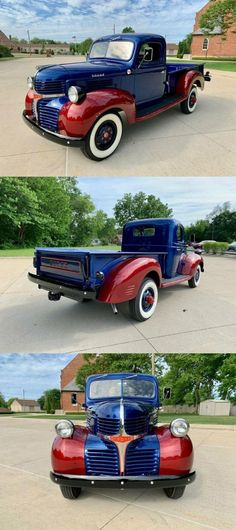 1946 Dodge 3/4 Ton Pickup, Blue & Red Pickup Truck [Over the top build] Dodge Pickup, Pickup Trucks, Wood Beds, Vintage Trucks For Sale, Pick Up, Collector Cars For Sale, Over The Top, Restoration, Car Show