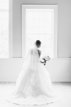 Gorgeous black + white bridal portrait: http://www.stylemepretty.com/virginia-weddings/earlysville/2016/08/01/when-friends-fall-in-love-they-then-marry-in-a-rustic-barn-wedding/ | Photography: Meredith Sledge - http://www.meredithsledge.com/