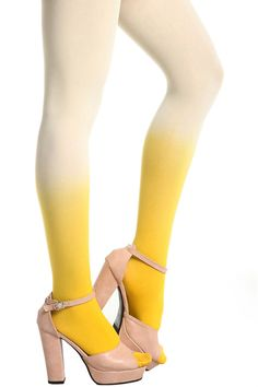 #Romwe Candy-color Velvet Yellow Tights