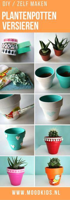 Plantenpotten versieren is erg leuk om samen met je kinderen te doen. En een groot voordeel: ze zijn 100% je eigen smaak. Hier lees je hoe je ze maakt!