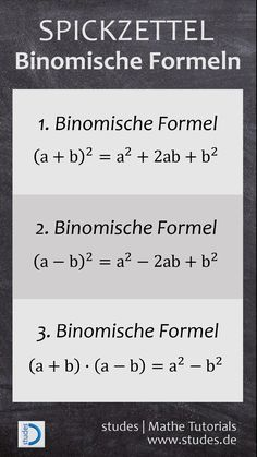Binomische Formeln… – - Kids education and learning acts Math Genius, Science, School Hacks, Math Lessons, Math Tips, Cheat Sheets, Algebra, Good To Know, Knowledge