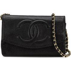 Chanel Vintage CC logo crossbody bag (63,975 MXN) ❤ liked on Polyvore featuring bags, handbags, shoulder bags, bolsas, clutches, black, leather crossbody, leather crossbody purse, leather purse and crossbody purse