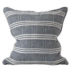 Dash Dot indian teal linen cushion 55x55cm